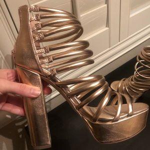 Steve Madden Gold Strap Block Heels